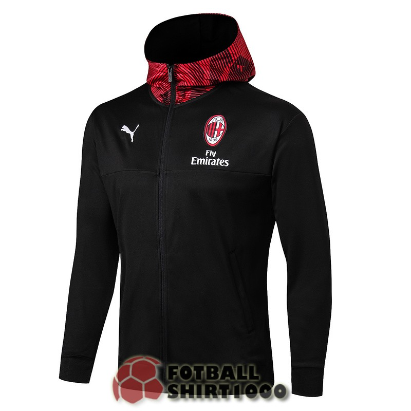 ac milan hooded jacket 2019 2020 black