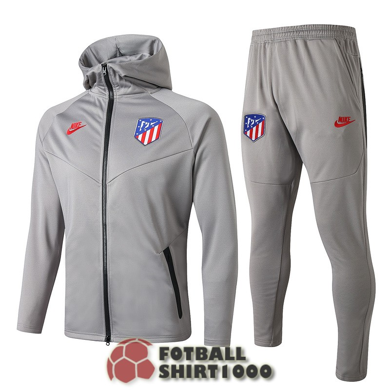 atletico madrid hooded jacket 2019 2020 light gray